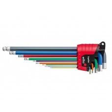 Набор цветных шестигранных штифтовых ключей со сферической головкой HEX Wiha SB 369E 9F 43849, 9 пр. в блистере