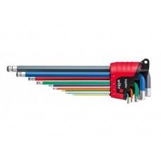 Набор цветных шестигранных штифтовых ключей c MagicRing со сферической головкой Wiha Ergostar SB 369R E9F 43850, 9 пр. в блистере